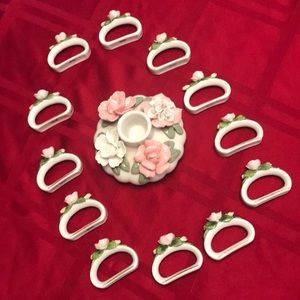 Vintage Candlestick Holder & Napkin Rings Set